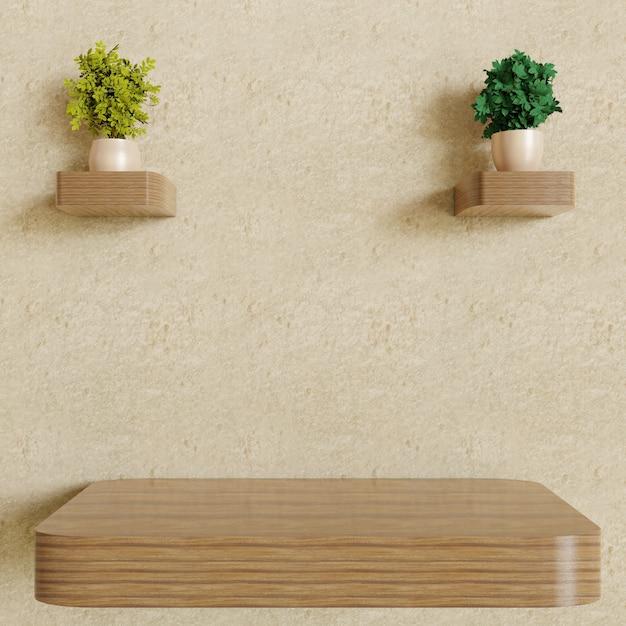 Étagère Murale En Bois Vide Unique Avec Décoration De Plantes En Couple Sur Un Mur En Plâtre Photo Premium