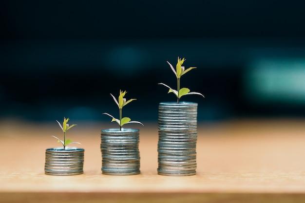 Étape des piles de pièces, argent, épargne et investissement ou concept de planification familiale. Photo Premium