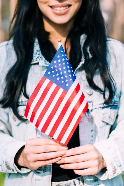 Ethnique, femme, tenue, drapeau américain Photo gratuit