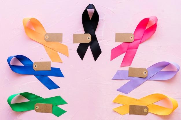 Étiquette vide sur ruban de sensibilisation coloré sur fond rose Photo gratuit
