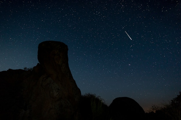 Étoile Filante. Photographie De Nuit Dans La Zone Naturelle De Barruecos. Estrémadure. Espagne. Photo Premium