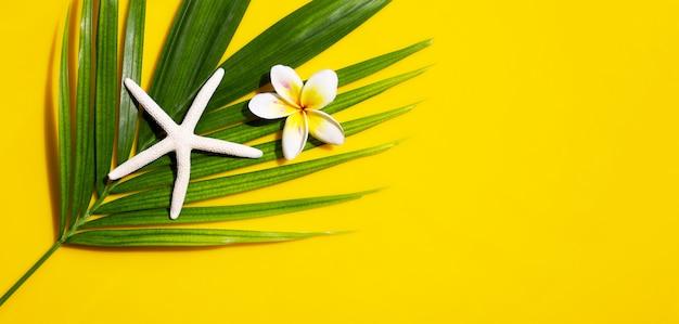 Étoile De Mer Avec Plumeria Ou Fleur De Frangipanier Sur Des Feuilles De Palmier Tropical Sur Fond Jaune. Profitez Du Concept De Vacances D'été. Vue De Dessus Photo Premium