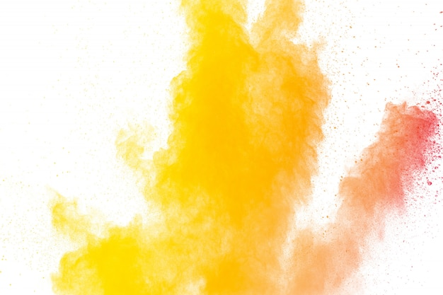 Explosion de poudre abstraite jaune orange. Photo Premium