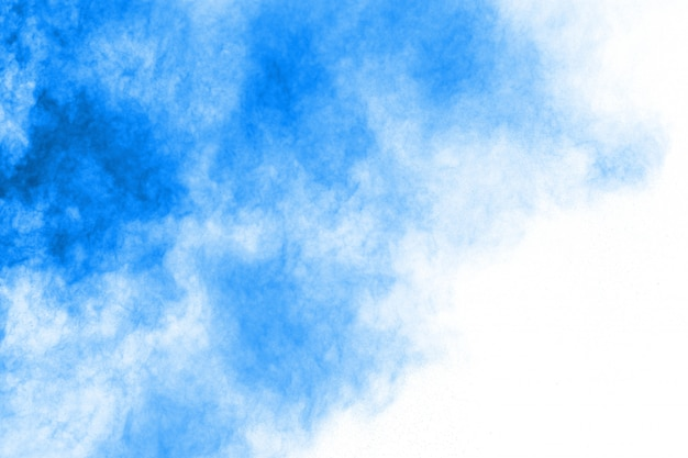 Explosion de poudre bleue sur fond blanc. nuage coloré. la poussière colorée explose. peindre holi. Photo Premium