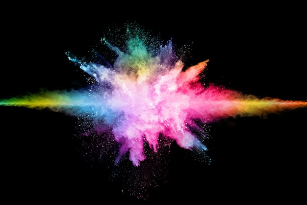 Explosion de poussières colorée abstraite sur une poudre noire.abstrait éclaboussée. Photo Premium