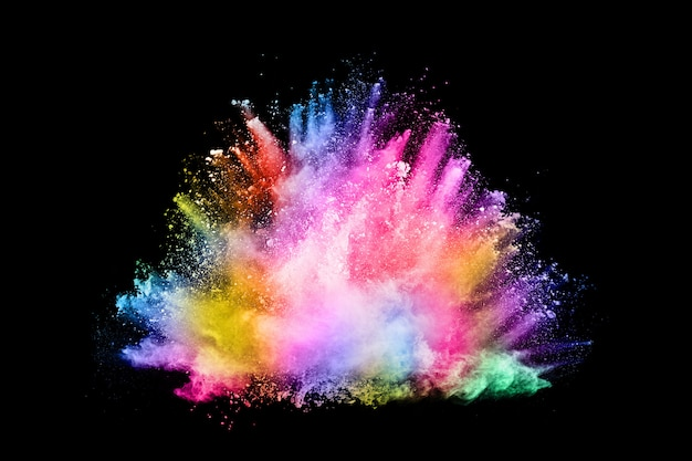 Explosion de poussières colorées abstraites sur fond noir Photo Premium