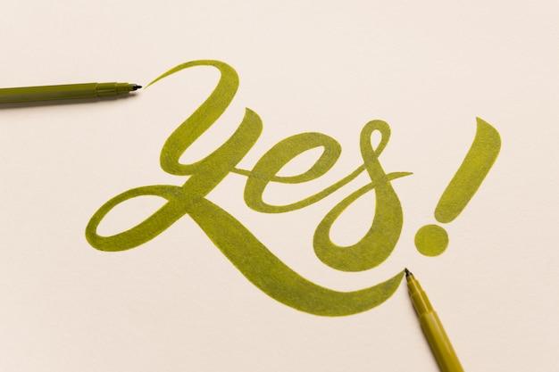 Expression De Motivation D'approbation Manuscrite Avec Marqueur Vert Photo gratuit