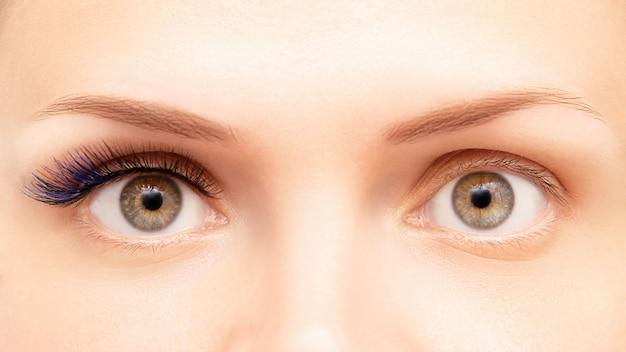 Extensions De Cils De Couleur Bleue Avant Et Après Photo Premium