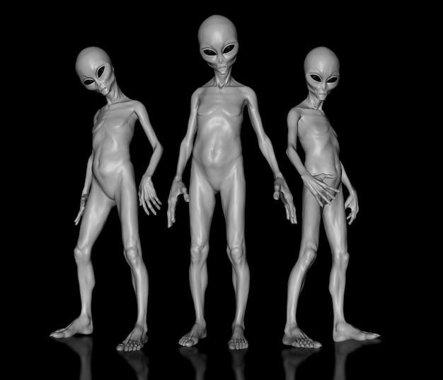 Extraterrestres 3d dans un groupe Photo Premium