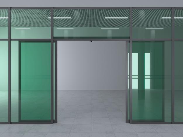 La façade d'un centre commercial moderne ou d'une gare, un aéroport avec des portes coulissantes automatiques. Photo Premium