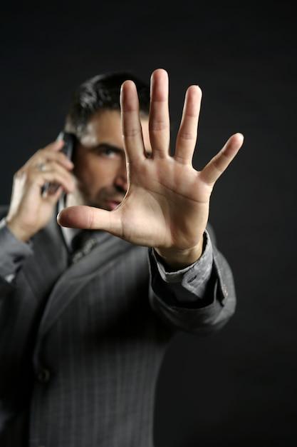Fâché, homme affaires, dire, arrêt, main Photo Premium