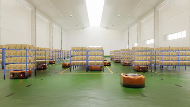 Factory automation avec agv dans les transports pour augmenter les transports avec davantage de sécurité. Photo Premium
