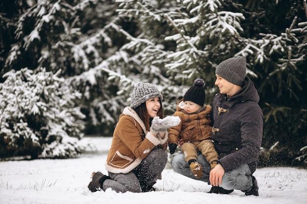 Famille dans une forêt d'hiver Photo gratuit