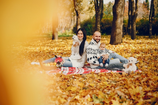 Famille Avec Fils Dans Un Parc En Automne Photo gratuit
