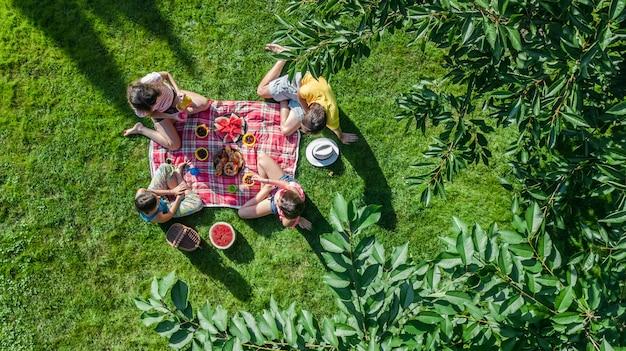 Famille Heureuse Avec Enfants Ayant Pique-nique Dans Le Parc, Parents Avec Enfants Assis Sur L'herbe Du Jardin Et Manger Des Repas Sains à L'extérieur, Vue Aérienne Du Drone D'en Haut, Vacances En Famille Et Concept De Week-end Photo Premium