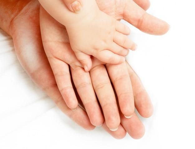 Famille De Mains Sur Blanc Photo Premium