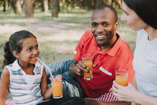 Famille multinationale boivent du jus de fruits sur un pique-nique. Photo Premium