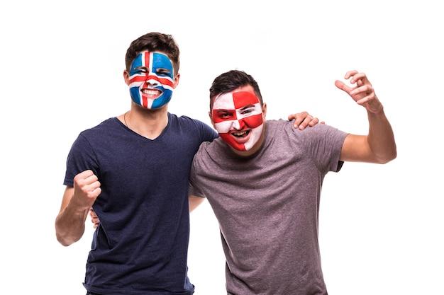 Fans De Football Supporters Avec Visage Peint Des équipes Nationales D'islande Et De Croatie Isolés Photo gratuit