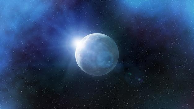 Fantastique représentation artistique de la lune dans l'espace extra-atmosphérique Photo Premium