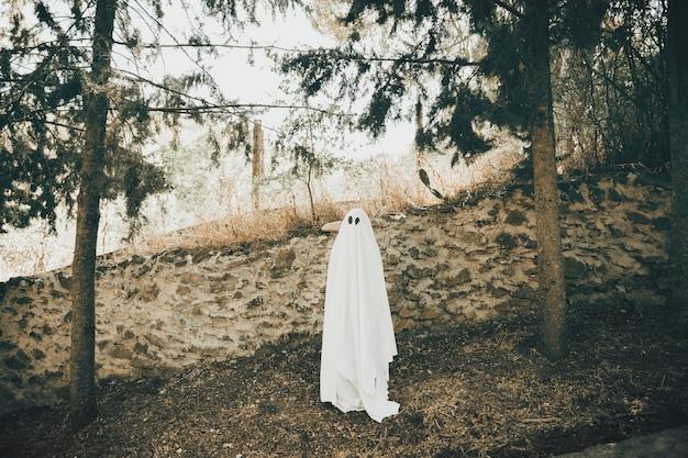 Fantôme sombre près du mur dans le parc Photo gratuit