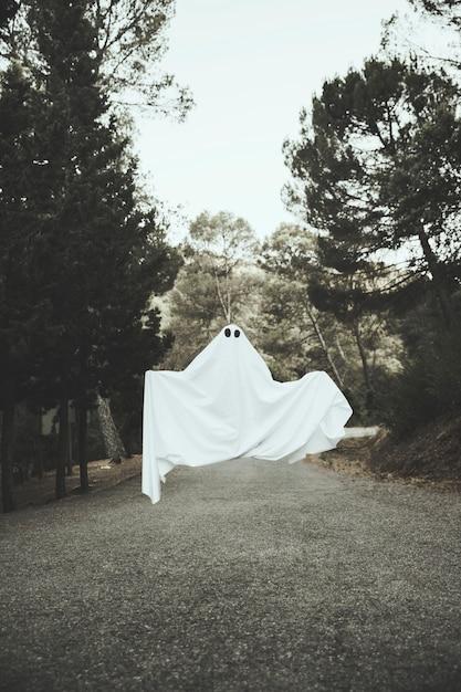 Fantôme sombre volant au-dessus de la route de campagne Photo gratuit