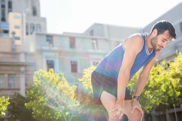 Fatigué beau repos athlétique Photo Premium