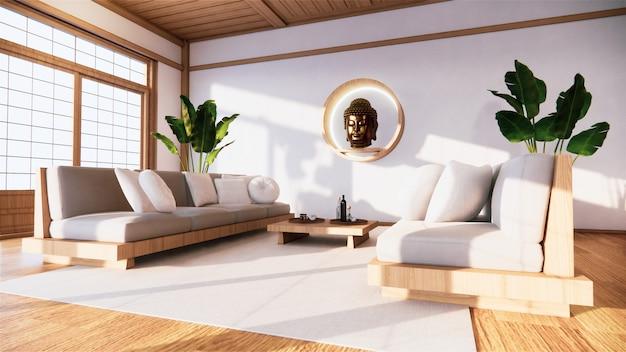 Le Fauteuil Sur La Chambre Japon Et Le Fond Blanc Offre Une Fenêtre D'édition. Photo Premium