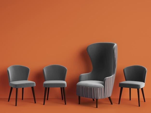 Fauteuil Classique Parmi Des Chaises Simples De Couleur Grise Avec Espace Copie Photo Premium