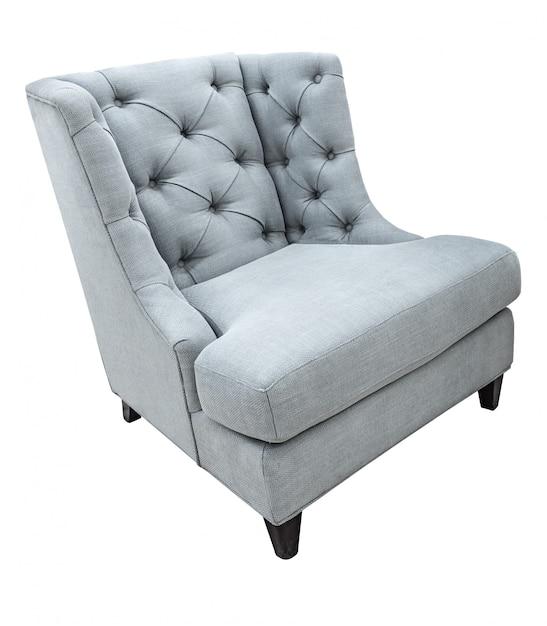 Fauteuil de style moderne vintage classique gris avec revêtement en tissu isolé on white Photo Premium