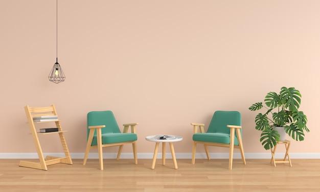 Fauteuil vert et table dans le salon marron   Télécharger des Photos ...