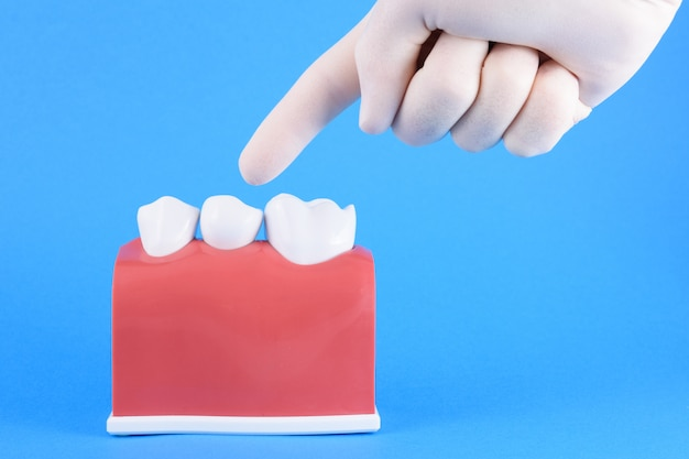 Faux bouche dentiste en bleu Photo Premium