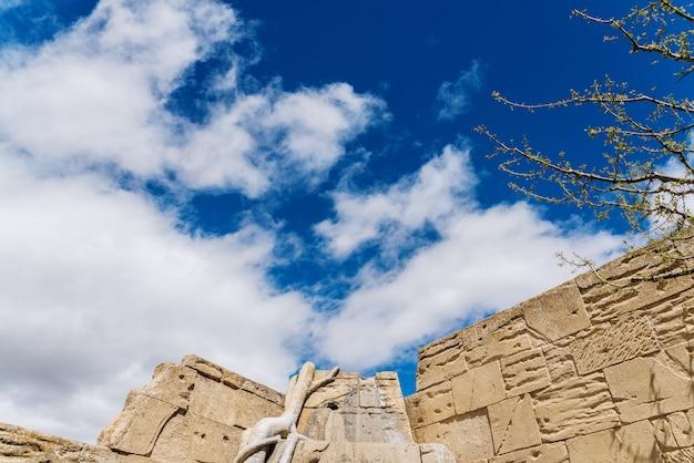 Faux mur de pierre recouvert de vignes de végétation et de ciel bleu avec des nuages Photo Premium