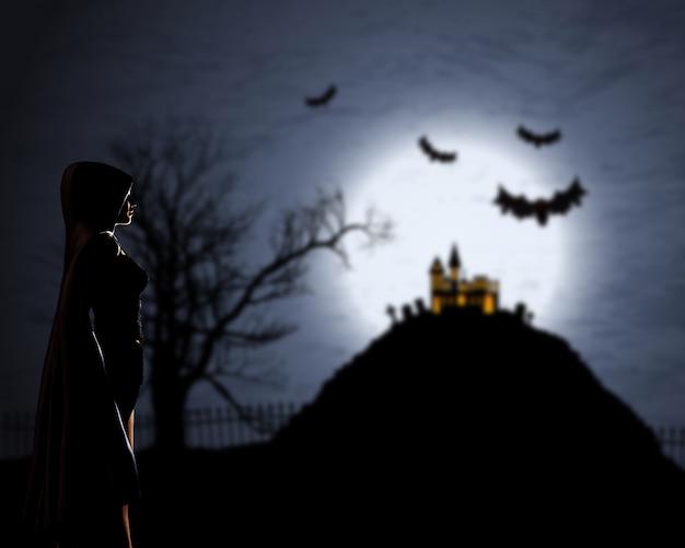 Femme 3d en manteau sur un fond halloween défocalisé Photo Premium
