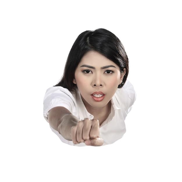 Femme d'affaires asiatiques volant Photo Premium