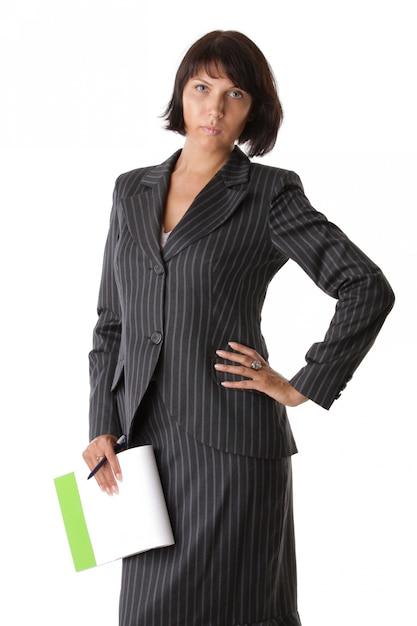 Femme Affaires, à, A, Bloc-notes, Et, Stylo Photo Premium