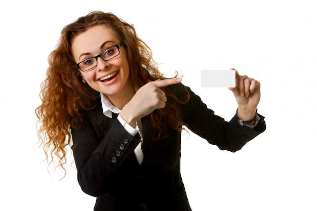 Femme D'affaires Avec Carte De Visite Vierge Photo Premium