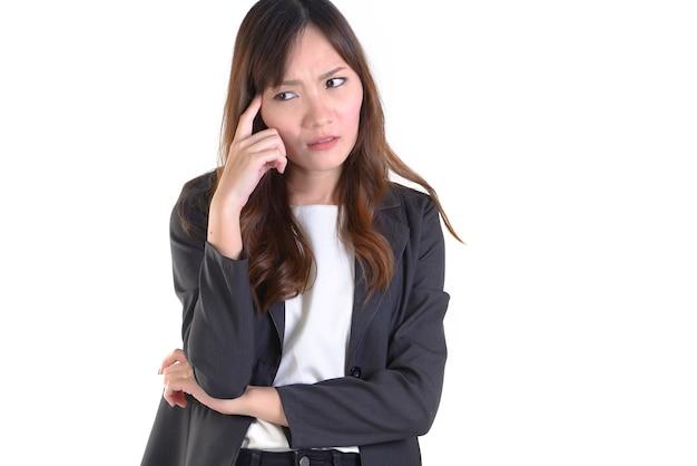 Femme D'affaires En Costume D'affaires Tellement Stressé Photo Premium