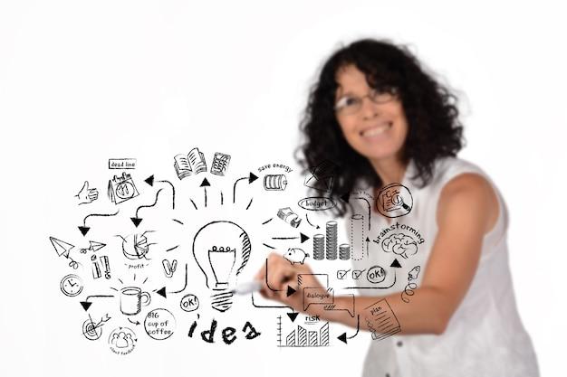 Femme D'affaires Dessin Croquis D'idée Stratégique Photo Premium