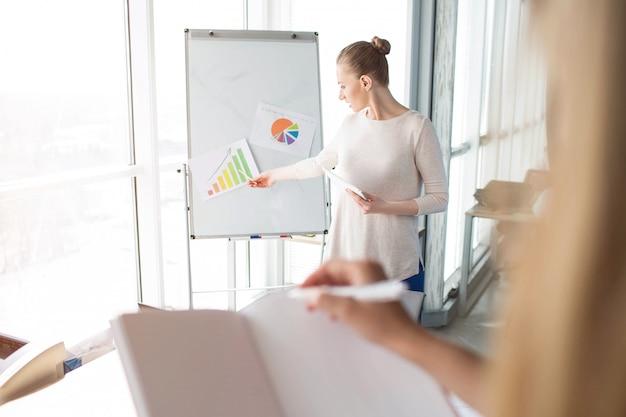Femme D'affaires Explique La Signification Des Différents Diagrammes Sur Le Tableau De Conférence Photo Premium