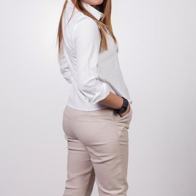 Femme d'affaires sur fond blanc Photo Premium
