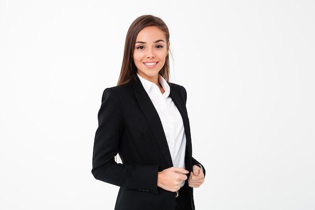 Femme D'affaires Gai Debout Isolé Photo gratuit