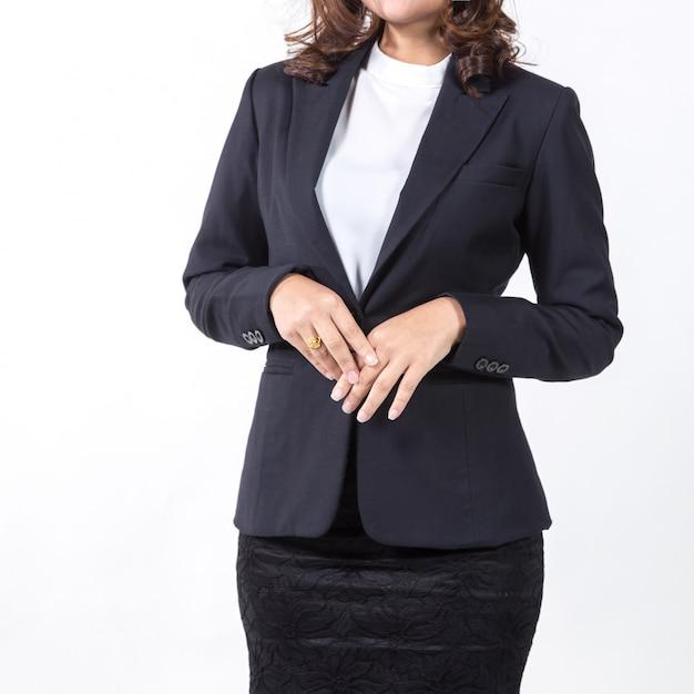 Femme d'affaires isolée sur fond blanc. Photo Premium