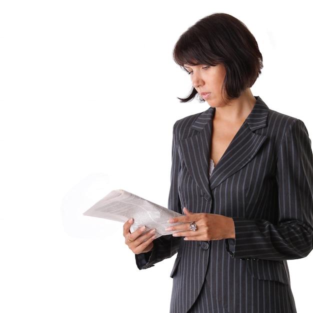 Femme Affaires, Lecture Journal Photo Premium