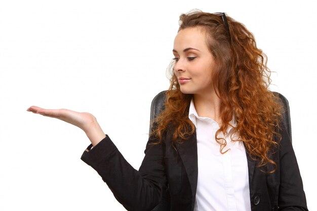 Femme D'affaires Avec La Main Ouverte Photo Premium