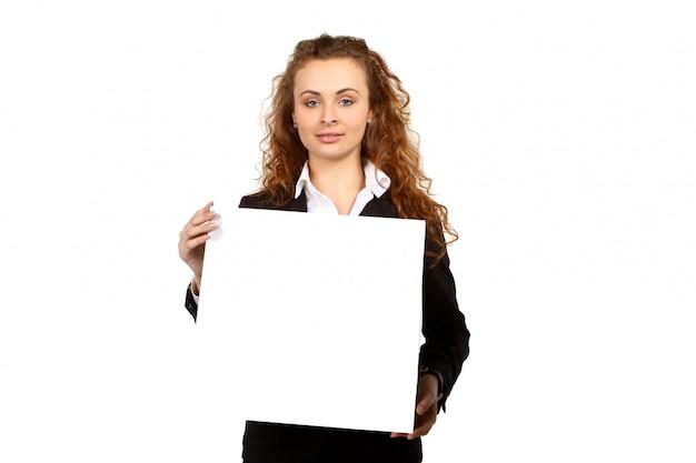Femme D'affaires Avec Plaque Vierge Photo Premium