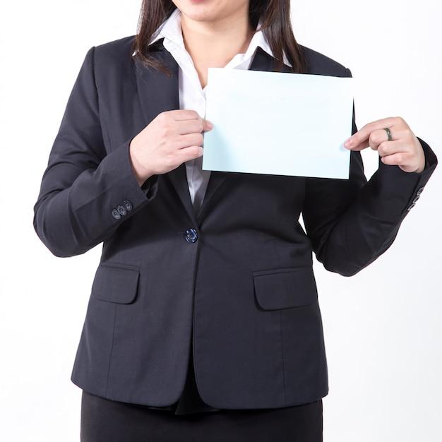 Femme affaires, projection, blanc, feuille concept pour les entreprises Photo Premium
