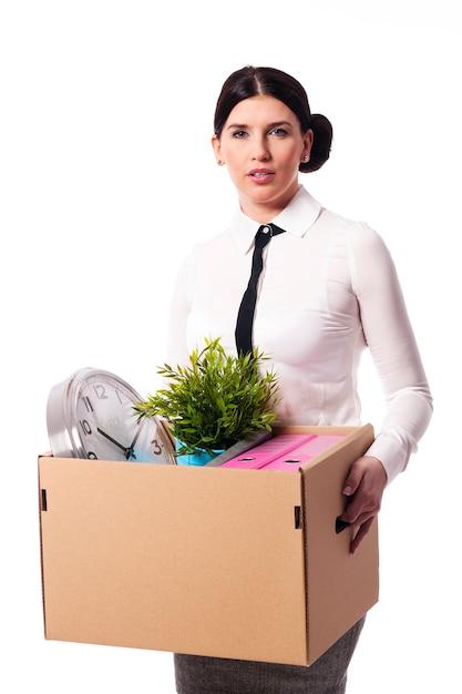 Femme Affaires, Tenue, A, Boîte, Objets Personnels Photo gratuit