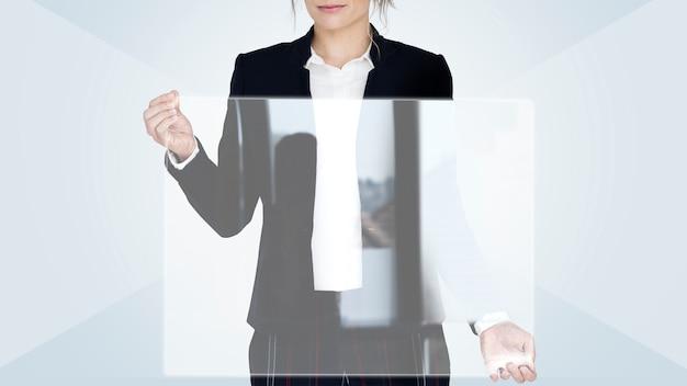 Femme affaires, tenue, vide, écran Photo Premium