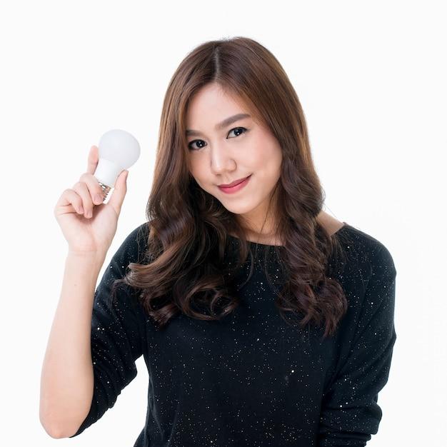 Femme, ampoule, main Photo Premium