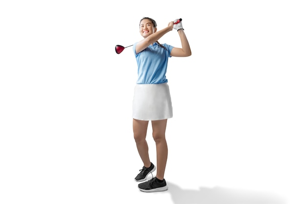 Femme asiatique balancer le bois club de golf Photo Premium
